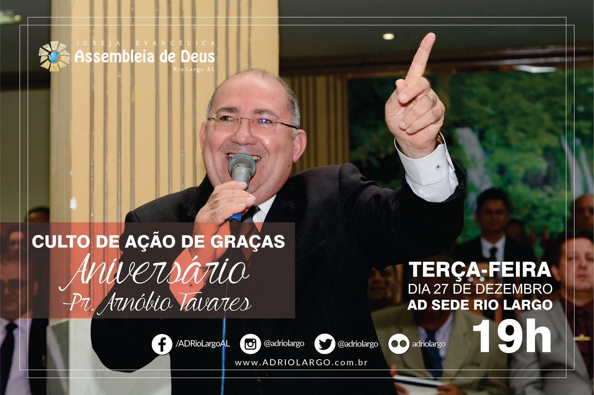 Convite Culto Em Ação De Graças Aniversário Do Pastor Arnóbio Ad